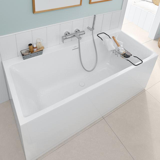 Villeroy & Boch Subway 3.0 rectangular bath, built-in white, overflow chrome