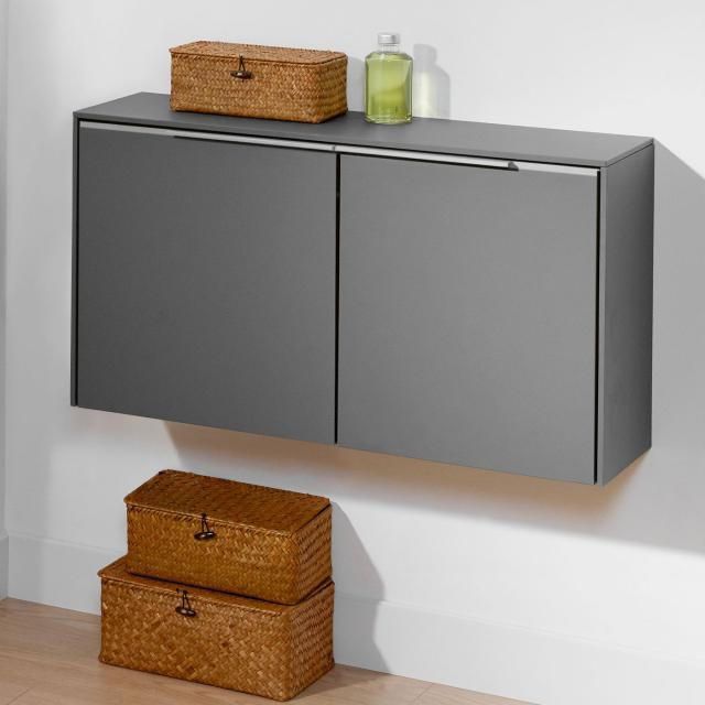 Villeroy & Boch Subway 3.0 sideboard with 2 doors front graphite / corpus graphite, handle strip aluminium gloss