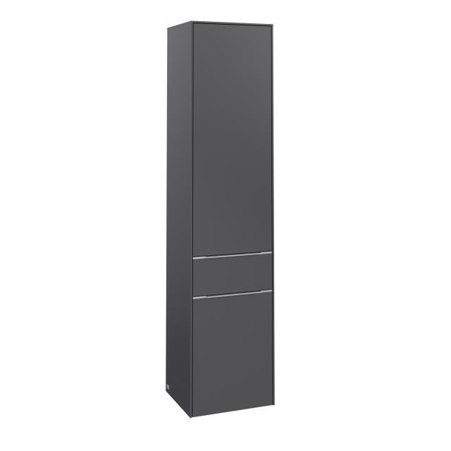 Villeroy & Boch Subway 3.0 tall unit with 2 doors and 1 pull-out compartment front graphite / corpus graphite, handle strip aluminium gloss