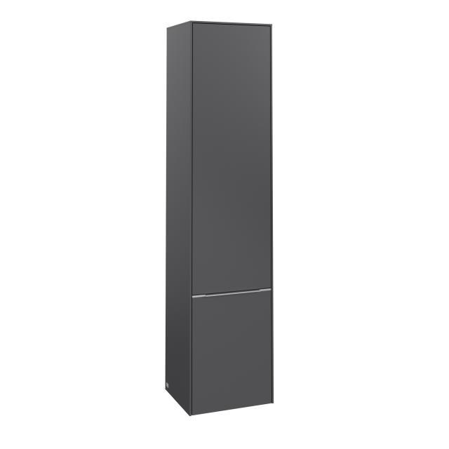 Villeroy & Boch Subway 3.0 tall unit with 2 doors front graphite / corpus graphite, handle strip aluminium gloss