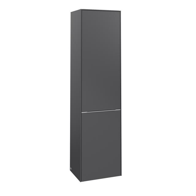 Villeroy & Boch Subway 3.0 tall unit with 1 door and laundry basket front graphite / corpus graphite, handle strip aluminium gloss