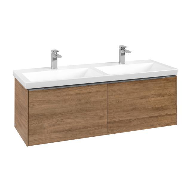 Villeroy & Boch Subway 3.0 vanity unit for double washbasin with 2 pull-out compartments front kansas oak / corpus kansas oak, handle strip aluminium gloss