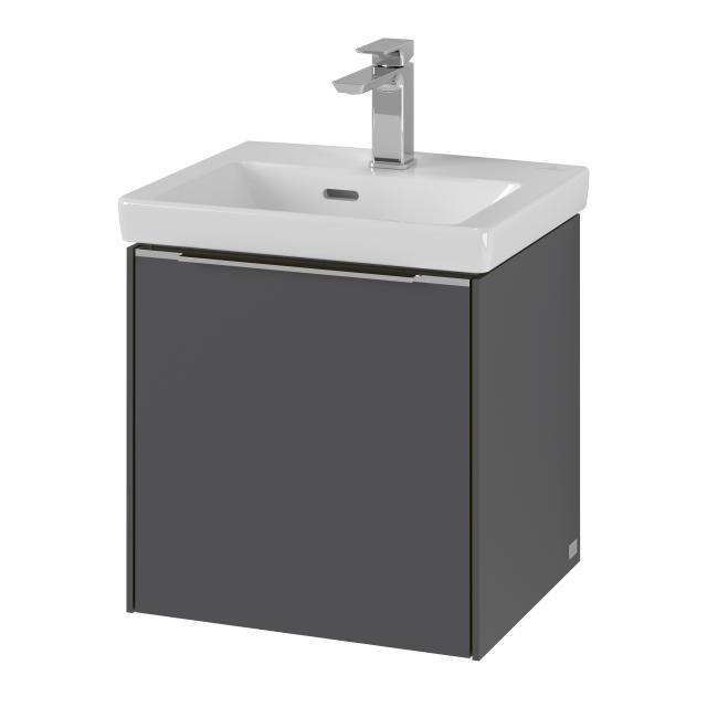 Villeroy & Boch Subway 3.0 vanity unit for hand washbasin with 1 door front graphite / corpus graphite, handle strip aluminium gloss