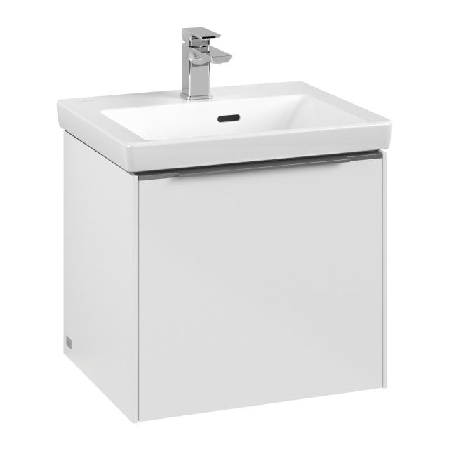 Villeroy & Boch Subway 3.0 vanity unit  for hand washbasin with 1 pull-out compartment front brilliant white / corpus brilliant white, handle strip aluminium gloss