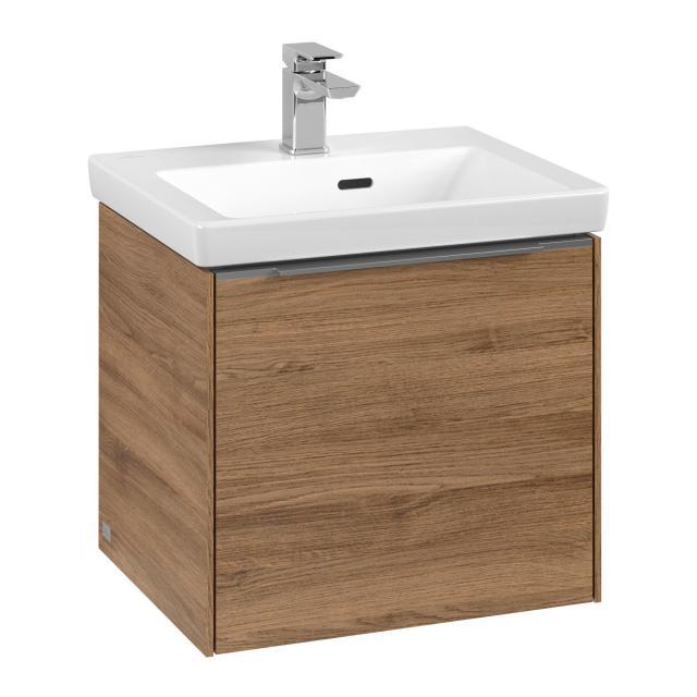 Villeroy & Boch Subway 3.0 vanity unit  for hand washbasin with 1 pull-out compartment front kansas oak / corpus kansas oak, handle strip aluminium gloss