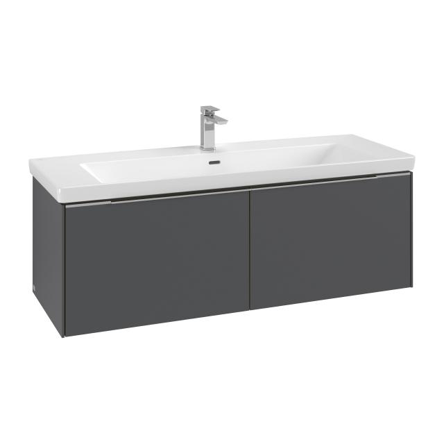 Villeroy & Boch Subway 3.0 vanity unit with 2 pull-out compartments front graphite / corpus graphite, handle strip aluminium gloss