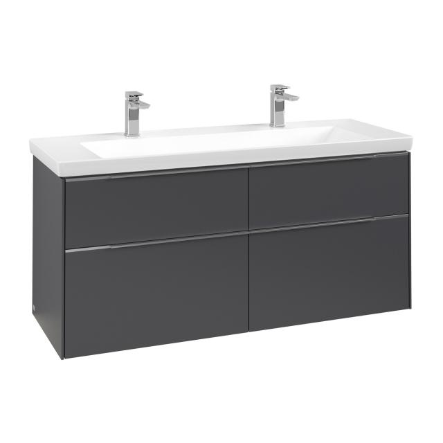 Villeroy & Boch Subway 3.0 vanity unit with 4 pull-out compartments front graphite / corpus graphite, handle strip aluminium gloss