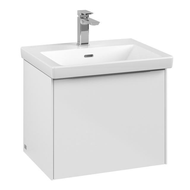 Villeroy & Boch Subway 3.0 vanity unit with 1 pull-out compartment front brilliant white / corpus brilliant white, handle strip aluminium gloss