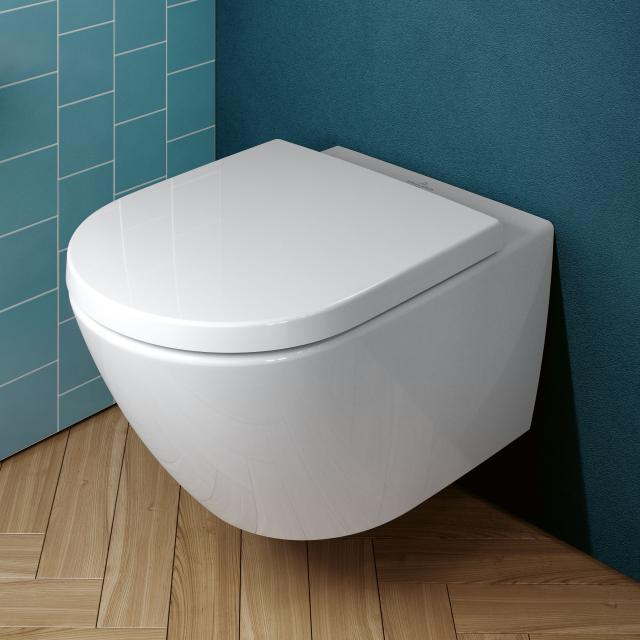 Villeroy & Boch Subway 3.0 wall-mounted, washdown toilet TwistFlush with toilet seat white, with CeramicPlus, toilet seat with soft-close & removable