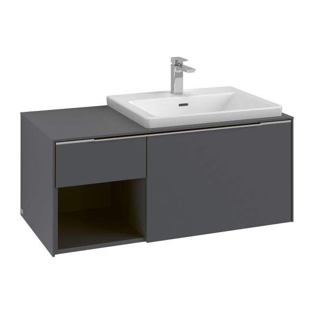 Villeroy & Boch Subway 3.0 washbasin with LED vanity unit with 2 pull-out compartments front graphite / corpus graphite, handle strip aluminium gloss, WB white, with 1 tap hole, with overflow