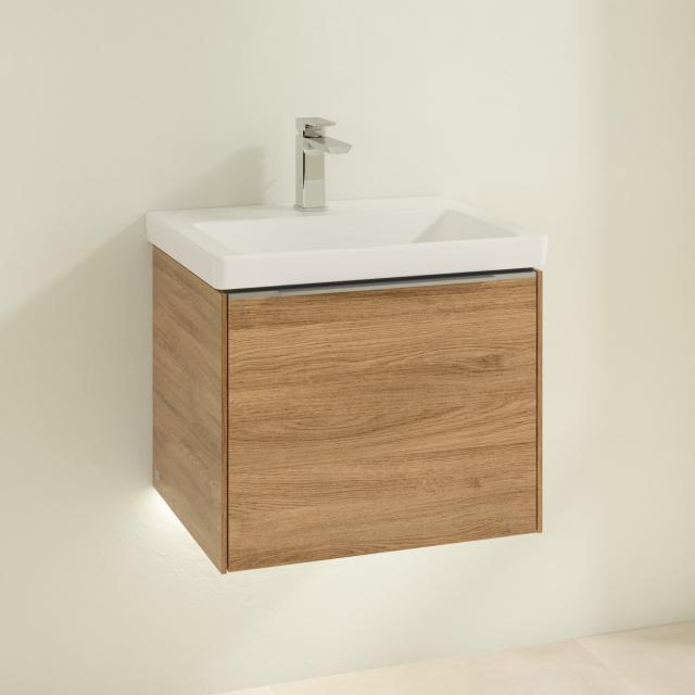 Villeroy & Boch Subway 3.0 washbasin with LED vanity unit with 1 pull-out compartment front kansas oak / corpus kansas oak, handle strip aluminium gloss, WB white, with 1 tap hole, without overflow