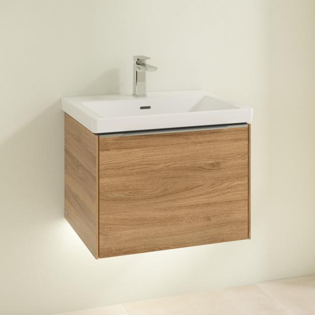 Villeroy & Boch Subway 3.0 washbasin with LED vanity unit with 1 pull-out compartment front kansas oak / corpus kansas oak, handle strip aluminium gloss, WB white, with 1 tap hole, with overflow