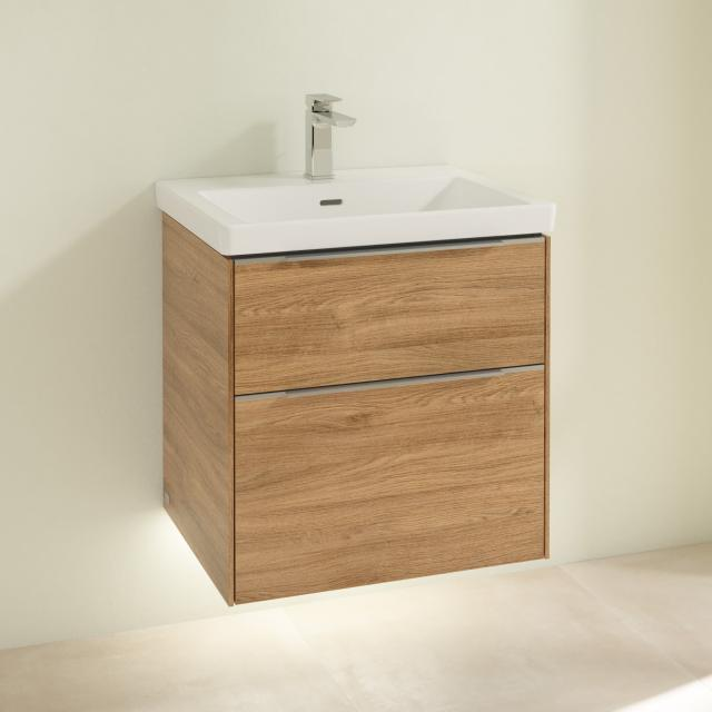 Villeroy & Boch Subway 3.0 washbasin with LED vanity unit with 2 pull-out compartments front kansas oak / corpus kansas oak, handle strip aluminium gloss, WB white, with 1 tap hole, with overflow