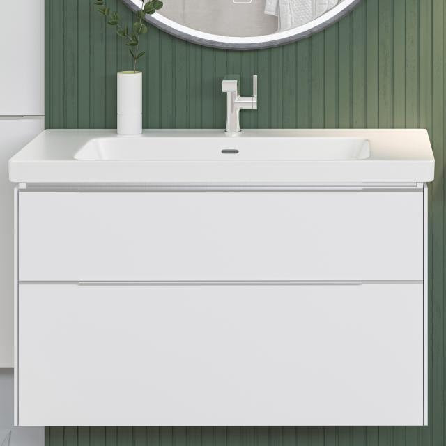 Villeroy & Boch Subway 3.0 washbasin with vanity unit with 2 pull-out compartments front brilliant white / corpus brilliant white, handle strip aluminium gloss, WB white, with CeramicPlus, with 1 tap hole, with overflow