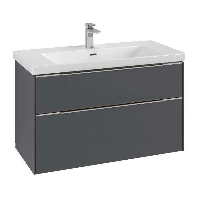Villeroy & Boch Subway 3.0 washbasin with vanity unit with 2 pull-out compartments front graphite / corpus graphite, handle strip aluminium gloss, WB white, with CeramicPlus, with 1 tap hole, with overflow