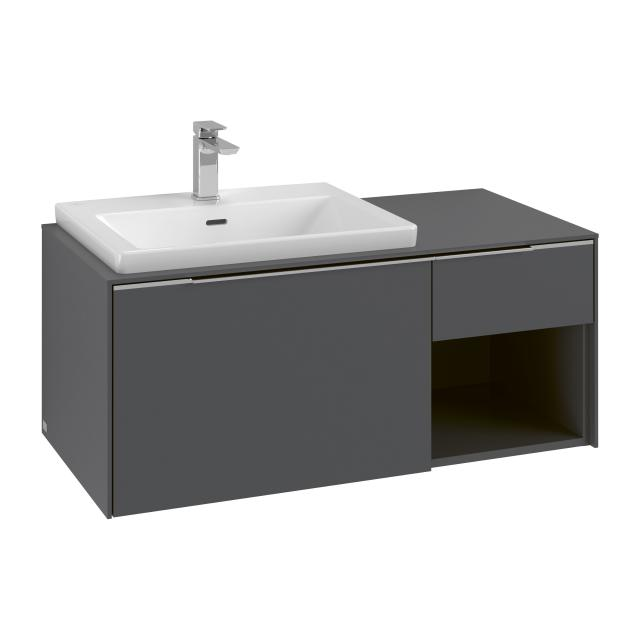 Villeroy & Boch Subway 3.0 washbasin with vanity unit with 2 pull-out compartments front graphite / corpus graphite, handle strip aluminium gloss, WB white, with 1 tap hole, with overflow