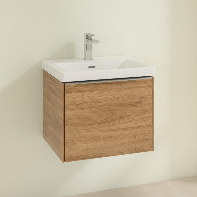 Villeroy & Boch Subway 3.0 washbasin with vanity unit with 1 pull-out compartment front kansas oak / corpus kansas oak, handle strip aluminium gloss, WB white, with 1 tap hole, with overflow