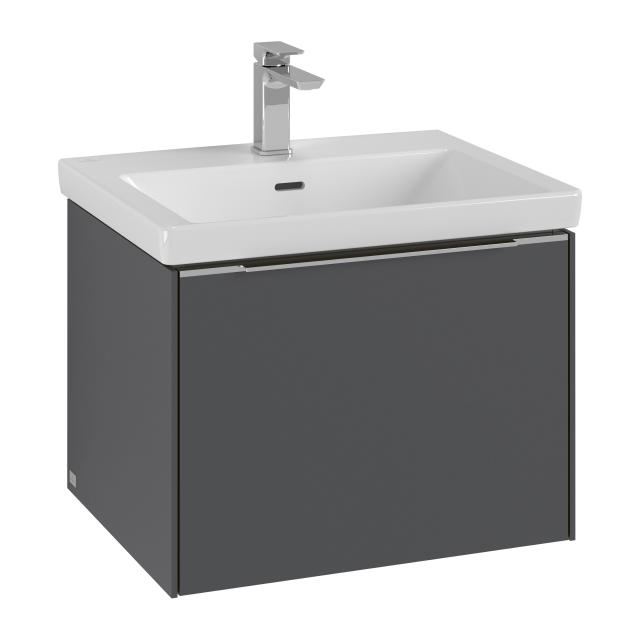 Villeroy & Boch Subway 3.0 washbasin with vanity unit with 1 pull-out compartment front graphite / corpus graphite, handle strip aluminium gloss, WB white, with 1 tap hole, with overflow