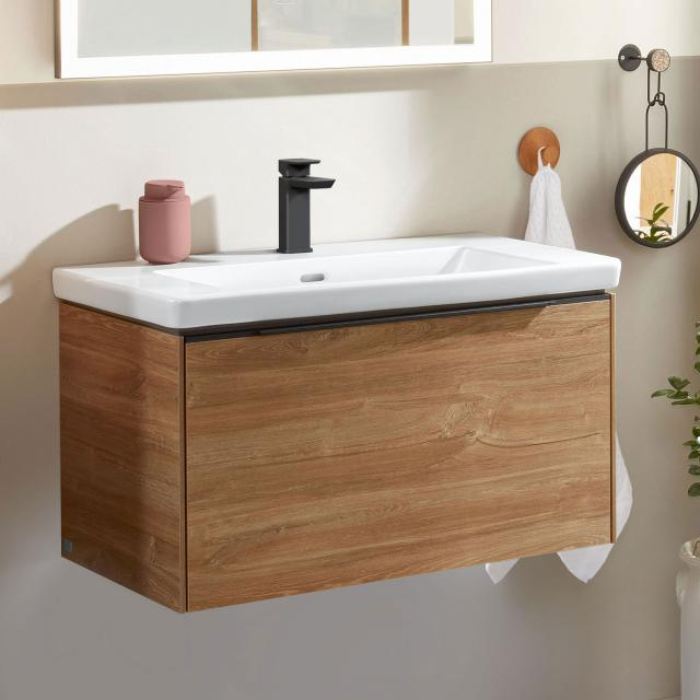 Villeroy & Boch Subway 3.0 washbasin with vanity unit with 1 pull-out compartment front kansas oak / corpus kansas oak, handle strip volcano black, WB white, with CeramicPlus, with 1 tap hole, with overflow