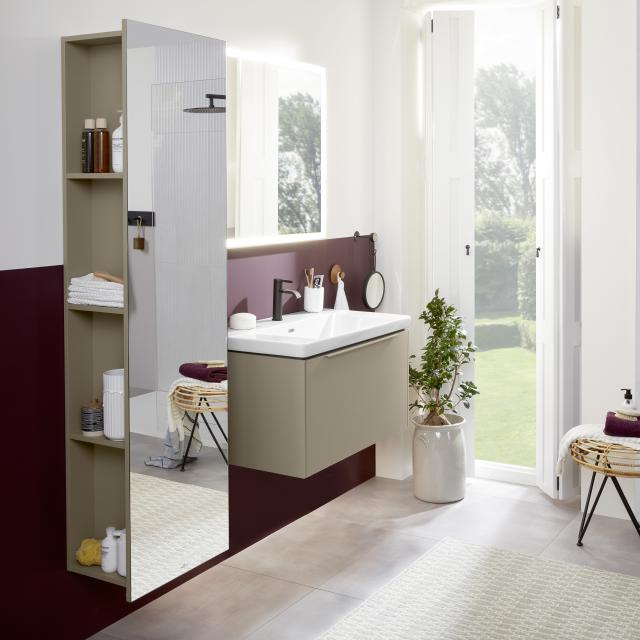 Villeroy & Boch Subway 3.0 washbasin with vanity unit with LED mirror front taupe/mirrored / corpus taupe/matt black, handle strip taupe, WB white