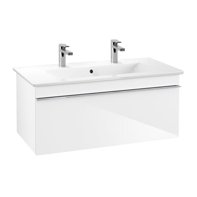 Villeroy & Boch Venticello double washbasin with vanity unit with 1 pull-out compartment front glossy white / corpus glossy white, handle chrome, WB white