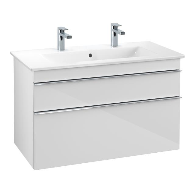 Villeroy & Boch Venticello double washbasin with vanity unit with 2 pull-out compartments front glossy white / corpus glossy white, handle chrome, WB white, with CeramicPlus