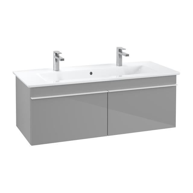 Villeroy & Boch Venticello double washbasin with vanity unit with 2 pull-out compartments front glossy grey / corpus glossy grey, handle white, WB white