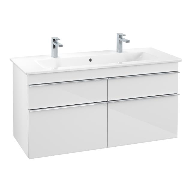Villeroy & Boch Venticello double washbasin with vanity unit with 4 pull-out compartments front glossy white / corpus glossy white, handle chrome, WB white, with CeramicPlus