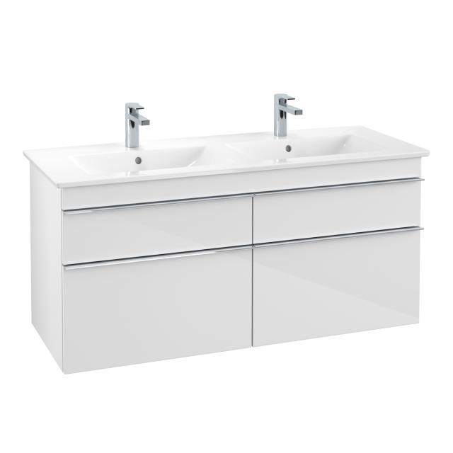 Villeroy & Boch Venticello double washbasin with vanity unit with 4 pull-out compartments front glossy white / corpus glossy white, handle chrome, WB white, with CeramicPlus, with 2 tap holes