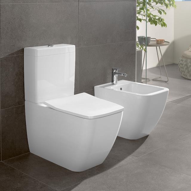 Villeroy & Boch Venticello floorstanding close-coupled washdown toilet, open flush rim white, with CeramicPlus