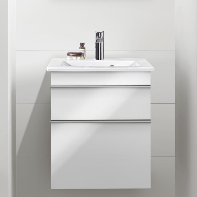 Villeroy & Boch Venticello hand washbasin with vanity unit with 2 pull-out compartments front glossy white / corpus glossy white, handle chrome, WB white, with CeramicPlus