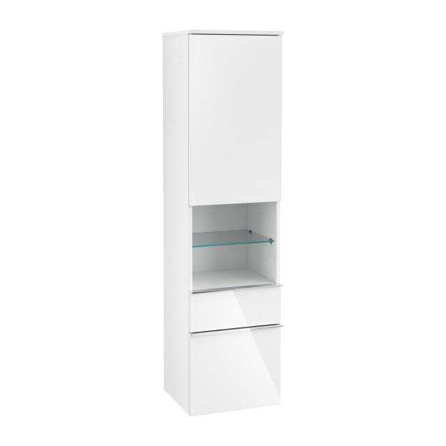 Villeroy & Boch Venticello tall unit with open central compartment, 2 pull-out compartments and 1 door front glossy white / corpus glossy white, chrome handles