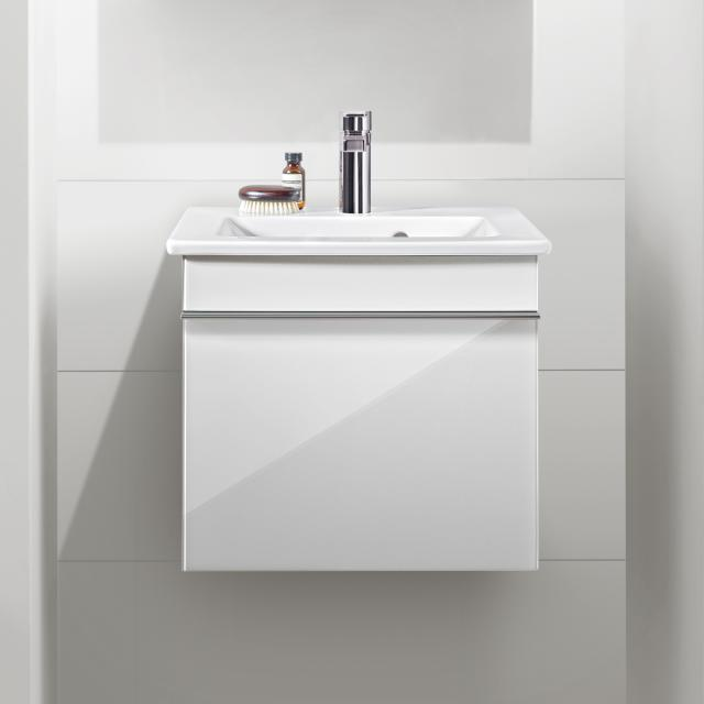Villeroy & Boch Venticello vanity unit for hand washbasin with 1 pull-out compartment front glossy white / corpus glossy white, chrome handle