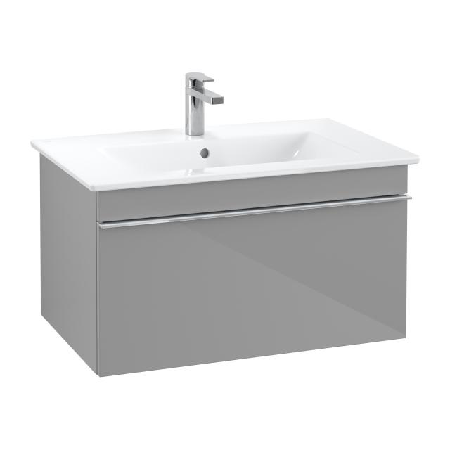 Villeroy & Boch Venticello vanity unit with 1 pull-out compartment front glossy grey / corpus glossy grey, chrome handle