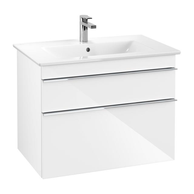 Villeroy & Boch Venticello vanity unit XXL with 2 pull-out compartments front glossy white / corpus glossy white, chrome handle
