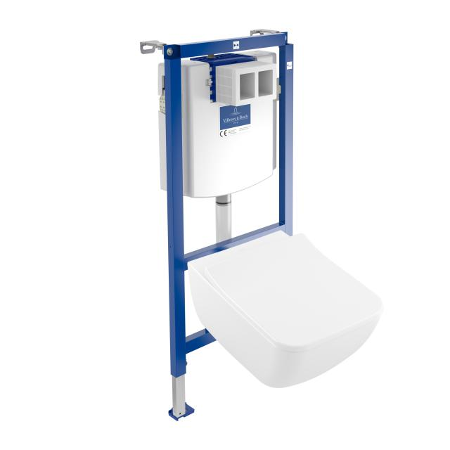 Villeroy & Boch Venticello & ViConnect NEW complete set wall-mounted washdown toilet, open flush rim, with toilet seat white, with CeramicPlus