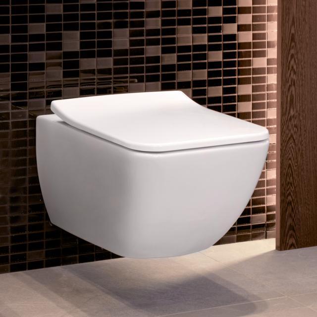 Villeroy & Boch Venticello wall-mounted washdown toilet, open flush rim white, with CeramicPlus
