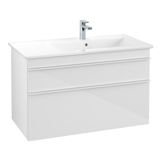 Villeroy & Boch Venticello washbasin with vanity unit with 2 pull-out compartments front glossy white / corpus glossy white, handle white, WB white, with CeramicPlus, with 1 tap hole