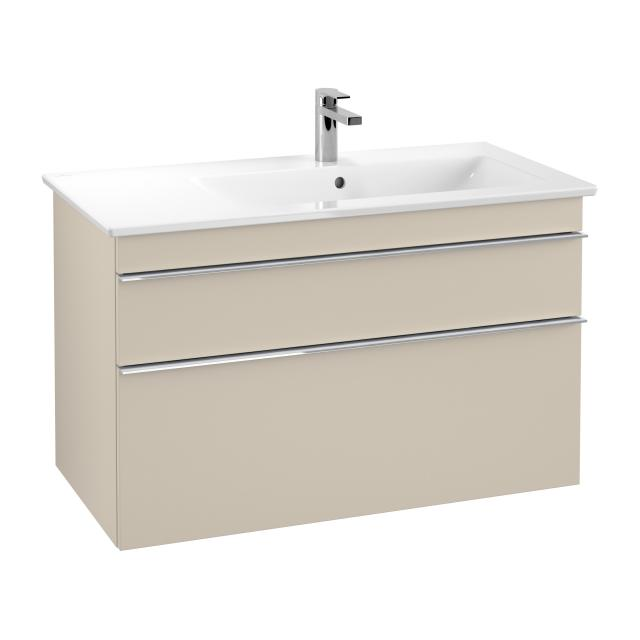 Villeroy & Boch Venticello washbasin with vanity unit with 2 pull-out compartments front soft grey / corpus soft grey, handle chrome, WB white, with 1 tap hole
