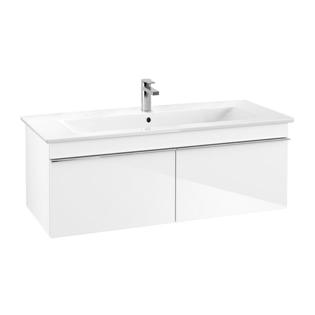 Villeroy & Boch Venticello washbasin with vanity unit with 2 pull-out compartments front glossy white / corpus glossy white, handle chrome, WB white, with CeramicPlus, with 1 tap hole