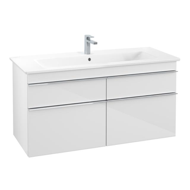 Villeroy & Boch Venticello washbasin with vanity unit with 4 pull-out compartments front glossy white / corpus glossy white, handle chrome, WB white, with CeramicPlus, with 1 tap hole
