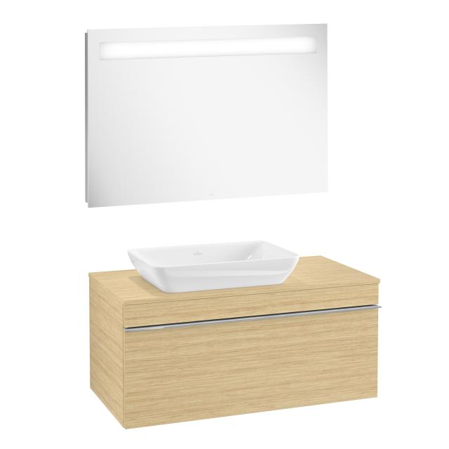 Villeroy & Boch Venticello washbasin with vanity unit and More to See 14 mirror front nordic oak/mirrored / corpus nordic oak/matt aluminium, handle chrome