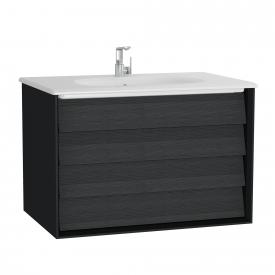 VitrA Frame washbasin with vanity unit with 2 pull-out compartments front black oak / corpus matt black