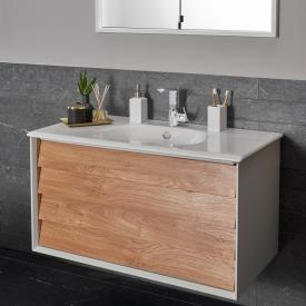 VitrA Frame washbasin with vanity unit with 2 pull-out compartments front gold oak / corpus matt white