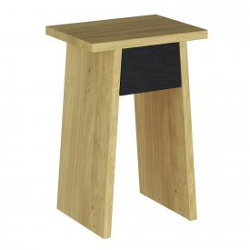 VitrA Memoria Elements stool / side table with drawer oak/matt black