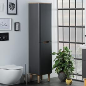 VitrA Sento tall unit with 2 doors and 1 laundry basket front matt anthracite / corpus matt anthracite/oak