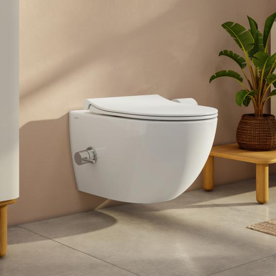 VitrA Aquacare Sento wall-mounted washdown toilet set with bidet function, with toilet seat with integrated thermostatic fitting