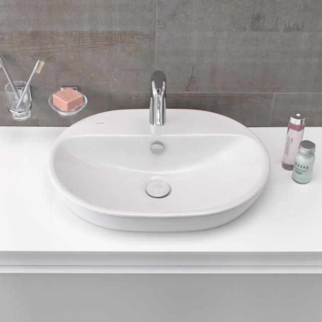VitrA Metropole countertop washbasin, oval white, with VitrAclean, ungrounded, with overflow