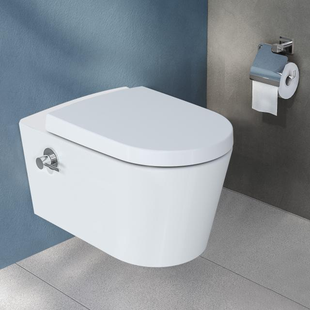 VitrA Options Nest wall-mounted washdown toilet with bidet function rimless, white, with VitrAclean, with integrated thermostatic fitting