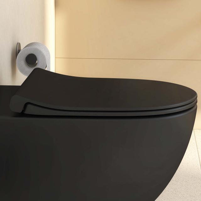VitrA Sento toilet seat Slim, sandwich shape, with soft-close & removable matt black